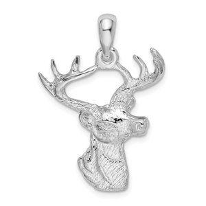Sterling 6-Point Buck Deer Head Profile Pendant